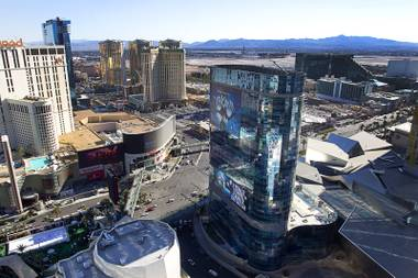 An exterior view of the Harmon Hotel tower, center, in CityCenter as seen from the Cosmopolitan on Friday, Dec. 20, 2013, in Las Vegas.