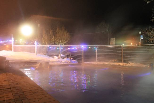 Steam rises from a pool at the Lava Hot Springs Inn on Saturday, Dec. 21, 2013.