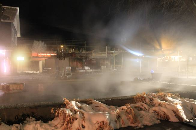 Steam rises from a hot bath at the Lava Hot Springs Inn in Idaho on Saturday, Dec. 21, 2013.