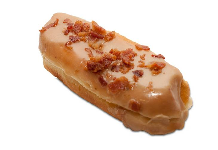 A maple bar topped with bacon at Pink Box Doughnuts in Henderson.