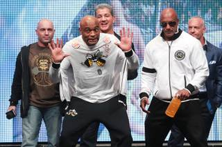 Former champion Anderson Silva jokes around while taking the stage during the weigh in for UFC 168 Friday, Dec. 27, 2013 at the MGM Grand Garden Arena.