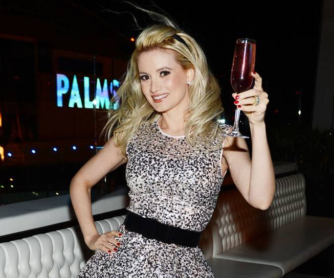 Holly Madison celebrates her 34th birthday at Ghostbar on Saturday, ...