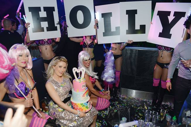 Holly Madison celebrates her 34th birthday at Moon on Saturday, ...