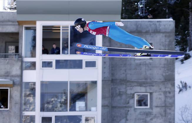 Second-place finisher Lindsey Van competes in the women's ski jumping event at the U.S. Olympic trials in Park City, Utah, Sunday, Dec. 29, 2013.