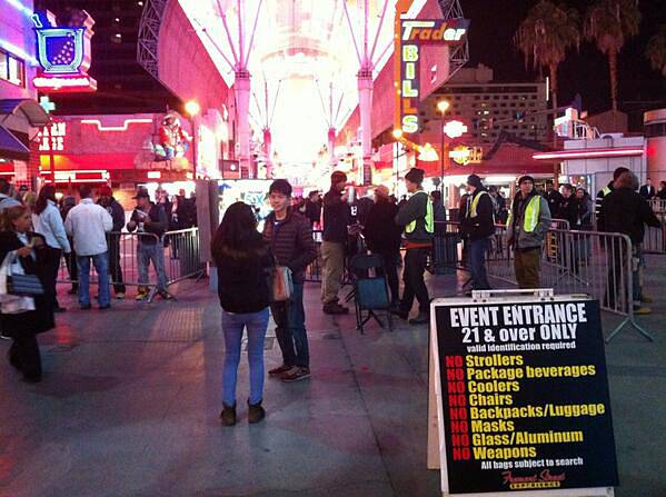 A New Year's Eve scene in downtown Las Vegas, Tuesday, Dec. 31, 2013.