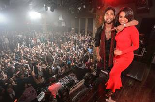 Miguel, with girlfriend Nazanin Mandi, hosts and performs at Tao on Tuesday, Dec. 31, 2013, in the Venetian.