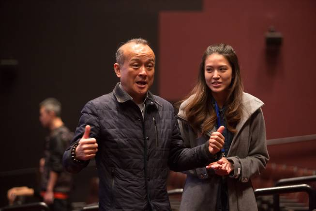 "An Zhao, director of ""Panda!,"" speaks to media and guests during a rehearsal preview of his new resident show Friday, Jan. 3, 2014, at Palazzo."