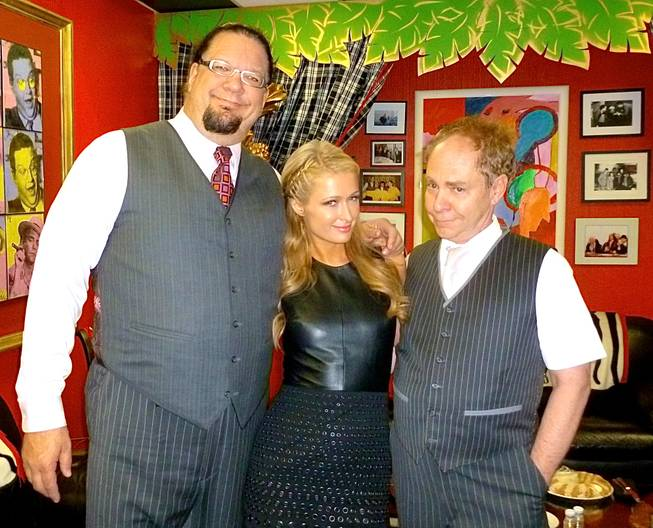 Penn Jillette, Paris Hilton and Teller at the Rio in Las Vegas.
