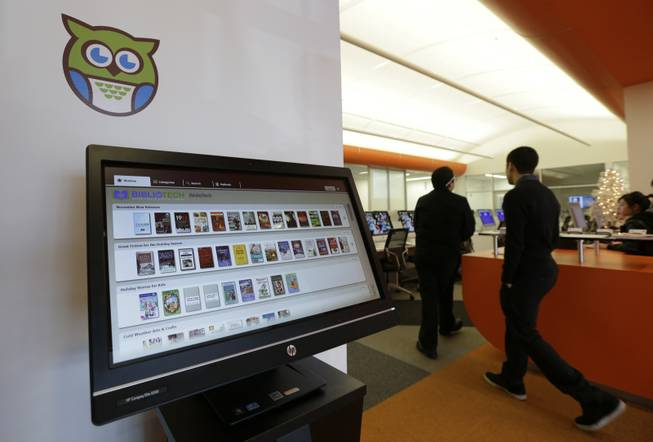 A computer screen displays books available  at BiblioTech, a first of its kind digital public library, Wednesday, Dec. 11, 2013, in San Antonio. Bexar Countys BibiloTech is the nation's only bookless public library, according to information gathered by the American Library Association.