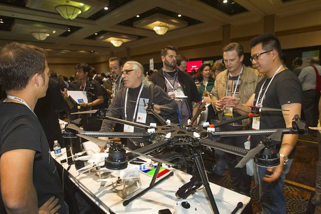"The DJI S1000, an eight-bladed, aerial photography system by DJI Innovations, is displayed during ""CES Unveiled,"" a media preview event to the annual Consumer Electronics Show (CES), in Las Vegas, Jan. 5, 2014."