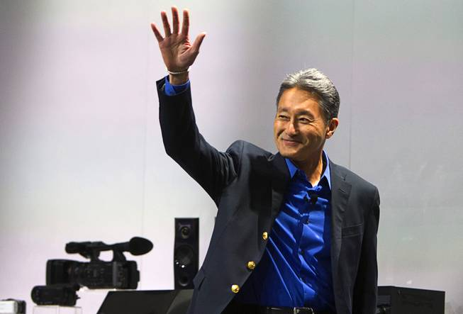 Kazuo Hirai, president and CEO of Sony Corp., arrives at a Sony news conference during the International Consumer Electronics Show (CES), in Las Vegas, Monday Jan. 6, 2014.
