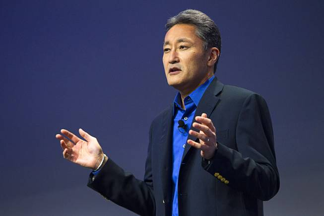 Kazuo Hirai, president and CEO of Sony Corp., speaks during a Sony news conference at the International Consumer Electronics Show (CES), in Las Vegas, Monday Jan. 6, 2014.