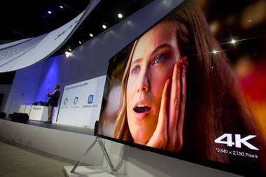 A Sony 85-inch Bravia XBR-X950B 4K television plays video after being unveiled during a Sony news conference at the International Consumer Electronics Show on Monday, Jan. 6, 2014, in Las Vegas.