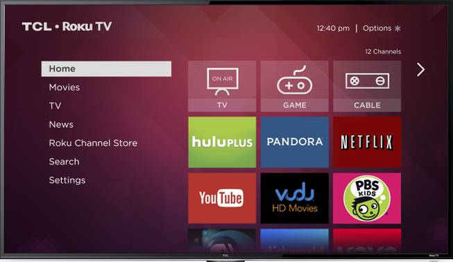 This image provided by Roku Inc., shows a screen frame grab of Roku's service. Internet streaming platform company Roku Inc. is launching a line of TVs that plays back video from services like Netflix without requiring an extra set-top box.