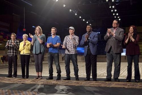 "Penn Jillette, second from right, is competing on Season 3 of the Food Network's ""Rachael vs. Guy."""