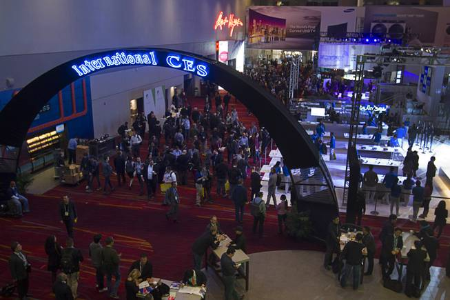 The lobby of the Las vegas Convention Center is shown before the opening of the trade show floor during the 2014 International Consumer Electronics Show (CES) in Las Vegas, Tuesday Jan. 7, 2014.