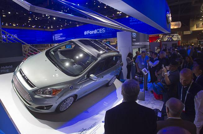 Ford C-MAX Solar Energi Concept car is displayed during the 2014 International Consumer Electronics Show (CES) at Las Vegas Convention Center in Las Vegas, Tuesday Jan. 7, 2014. The car incorporates concentrating solar voltaic panels in the vehicle roof.