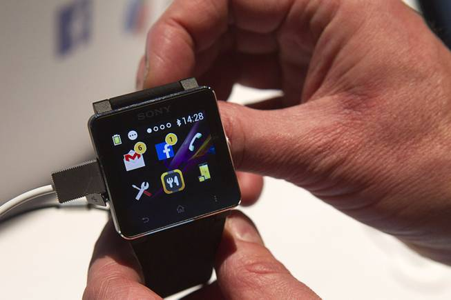 A Sony SmartWatch2 is displayed during the 2014 International Consumer Electronics Show (CES) in Las Vegas, Tuesday Jan. 7, 2014. The watch retails for $199.00.