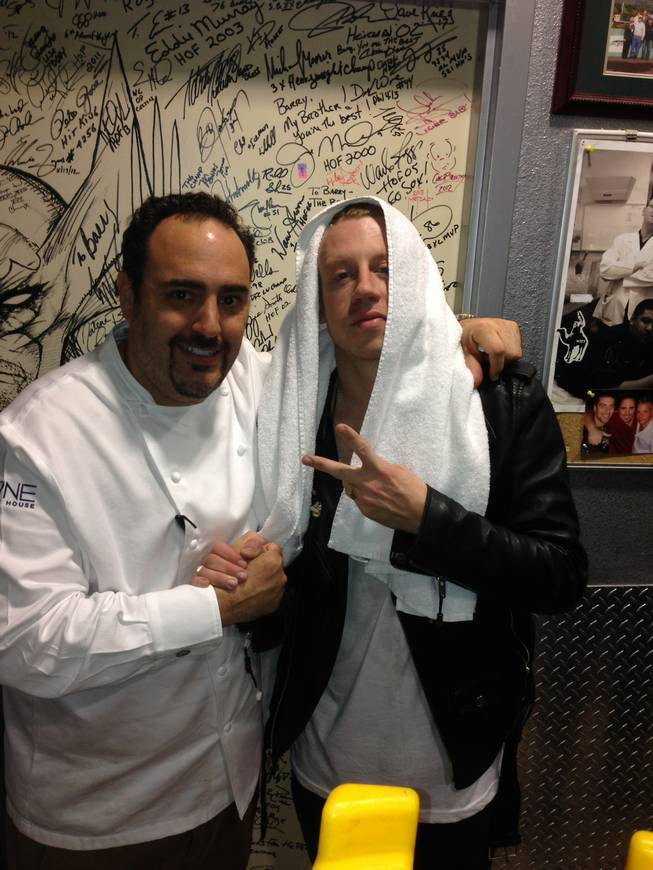 Chef Barry Dakake and Macklemore at N9NE Steakhouse in the Palms.