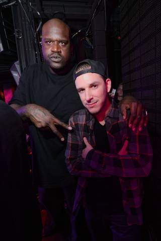 Shaquille O'Neal and Eric D-Lux at Monster Takeover at Marquee on Monday, Jan. 6, 2014, in the Cosmopolitan.