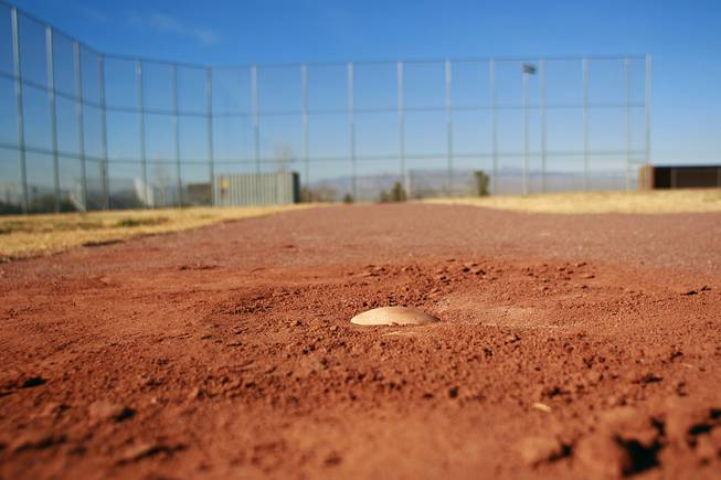 This is where the first base bag would sit at Sunrise Mountain High School's baseball field Wednesday, Jan. 8, 2014 if it hadn't been stolen.