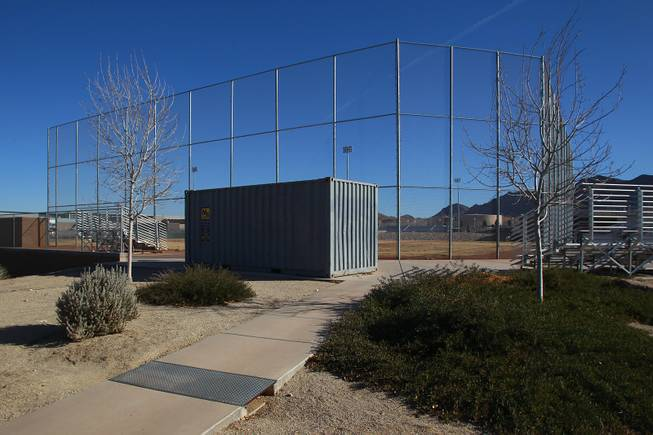 The baseball storage shed at Sunrise Mountain High School is seen Wednesday, Jan. 8, 2014.