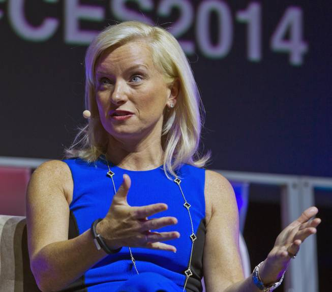 Carolyn Everson, VP of Global Marketing Solutions with Facebook, responds to a moderators question during a CES speaking event in the LVH Theatre on Wednesday, Jan. 8, 2014.