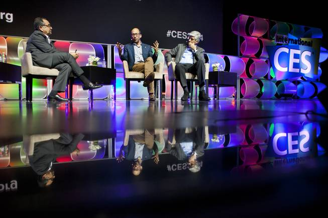 (From left) Moderator Michael Kassan, Chairman and CEO of MediaLink, questions panelists Dick Costolo, CEO of Twitter, and Maurice Levy, CEO of Publicis Groupe, during a CES keynote event in the LVH Theatre  on Wednesday, Jan. 8, 2014.