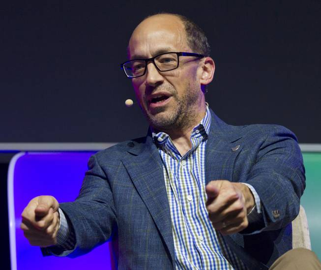 Panelist Dick Costolo, CEO of Twitter, talks branding and cooperation during a CES keynote event in the LVH Theatre  on Wednesday, Jan. 8, 2014.