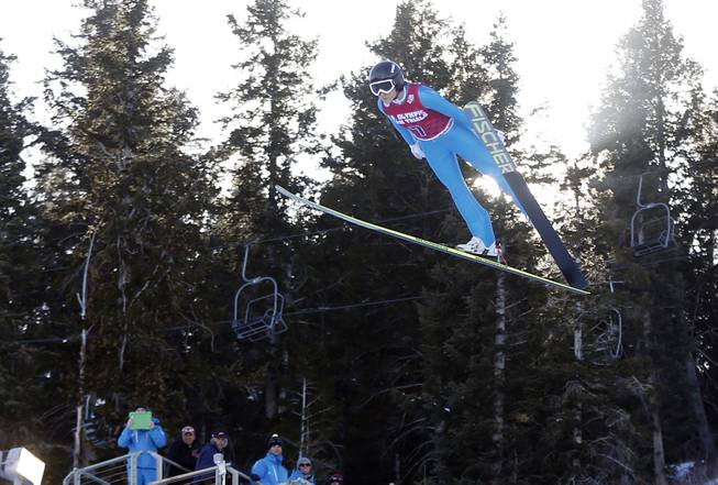 First-place finisher Jessica Jerome competes in the women's ski jumping event at the U.S. Olympic trials in Park City, Utah, Sunday, Dec. 29, 2013.