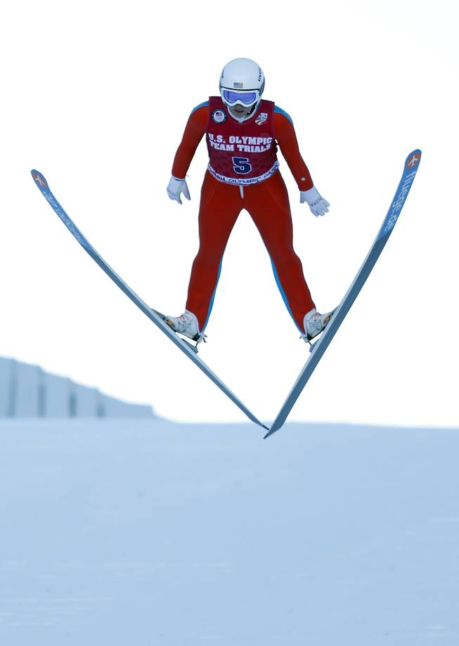 Third-place finisher Alissa Johnson competes in the women's ski jumping event at the U.S. Olympic trials in Park City, Utah, Sunday, Dec. 29, 2013.