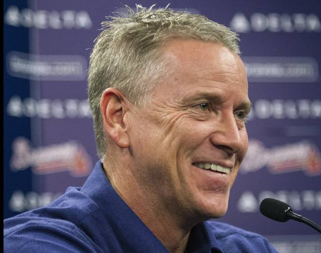 Former Atlanta Braves player Tom Glavine speaks with members of the media during a news conference at Turner Field after being elected to the baseball's Hall of Fame on Wednesday, Jan. 8, 2014, in Atlanta. Also elected were former Braves teammate Greg Maddux and Frank Thomas, who will all join managers Bobby Cox, Joe Torre, and Tony La Russa in the next induction.
