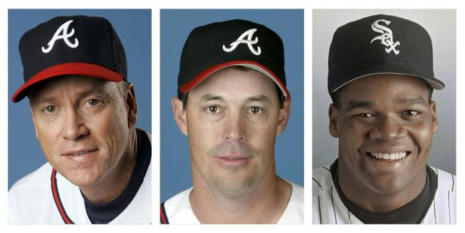 From left are Tom Glavine in 2008, Greg Maddux in 2008, and Frank Thomas in 1994 file photos. Glavine, Maddux and Thomas were selected to the Baseball Hall of Fame on Wednesday, Jan. 8, 2014.