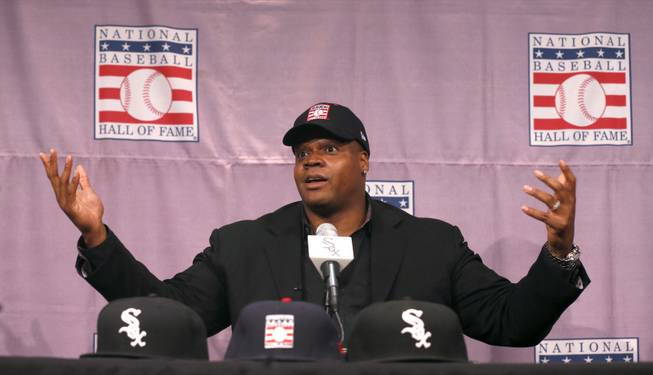 Chicago White Sox slugger Frank Thomas gestures during a news conference about his selection into the MLB Baseball Hall Of Fame Wednesday, Jan. 8, 2014, at U.S. Cellular Field in Chicago. Thomas joins Greg Maddux and Tom Glavine as first ballot inductees Wednesday, and will be inducted in Cooperstown on July 27 along with managers Bobby Cox, Joe Torre and Tony La Russa, elected last month by the expansion-era committee.