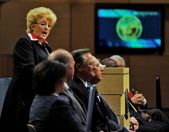 With City Council members seated before her, Las Vegas Mayor Carolyn Goodman speaks during the 2014 Las Vegas State of the City address at City Hall on Thursday evening, Jan. 9, 2014.