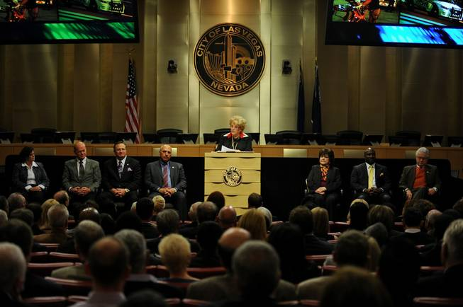 Las Vegas Mayor Carolyn G. Goodman speaks on a stage with members of the Las Vegas City Council during the 2014 Las Vegas State of the City address at City Hall on Thursday evening.