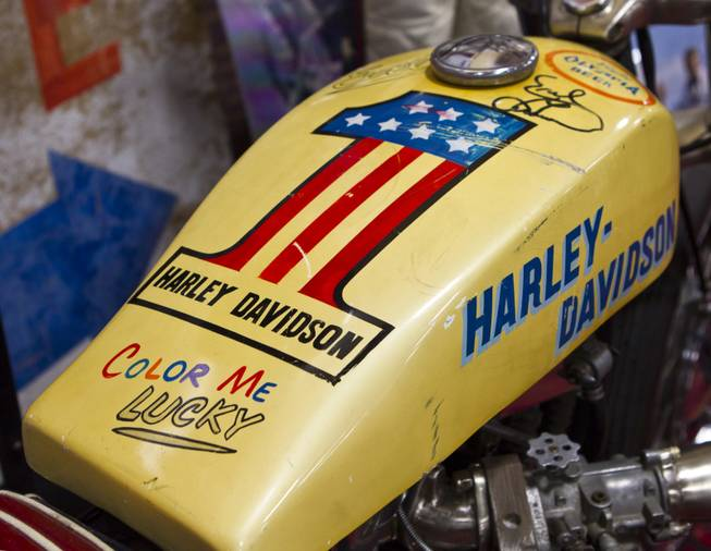 A painted tank from Evel Knievel's motorcycle on display as South Point hosts the 23rd Annual Las Vegas Vintage Motorcycle Auction on Friday, Jan. 10, 2014.