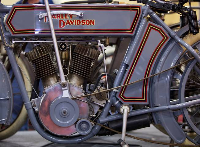 A 1911 Harley-Davidson 7D Twin motorcycle is one of many South for sale at the 23rd Annual Las Vegas Vintage Motorcycle Auction at South Point on Friday, Jan. 10, 2014.