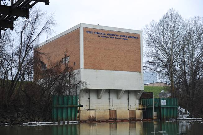 The West Virginia American Water Co. intake facility on the Elk River is closed following a 4-methylcyclohexane methanol leak from a 48,000-gallon tank at Freedom Industries, a chemical storage facility about a mile upriver in Charleston, W.Va., on Friday, Jan. 10, 2014.