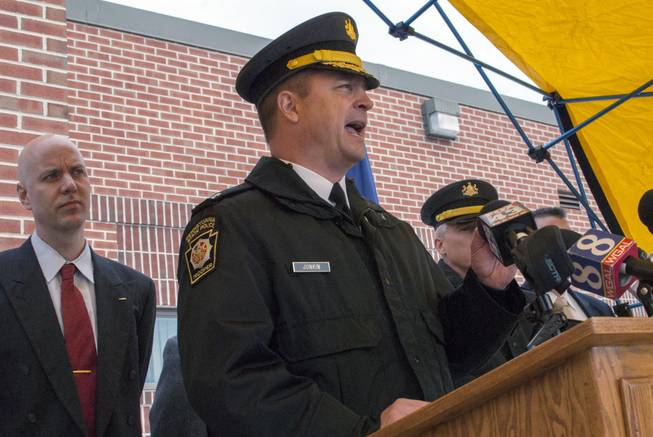 Pennsylvania State Police Capt. Steven Junkin speaks during a news conference, Friday, Jan, 10, 2014, in Chambersburg, Pa. Police investigating the shooting death of a motorist from Maine in the dead of night on a Pennsylvania interstate last weekend said Friday they did not think it was related to another roadway shooting about seven hours earlier some 50 miles away.