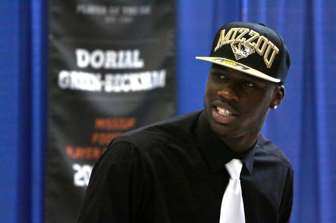In this Feb. 1, 2012, file photo, Dorial Green-Beckham speaks at a news conference after announcing that he will play college football for Missouri in Springfield, Mo. Green-Beckham has been arrested and released in an incident police say is tied to illegal drugs.