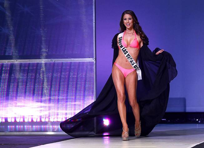 Miss South Las Vegas USA Nia Sanchez competes during the 2014 Miss Nevada USA Pageant on Sunday, Jan. 12, 2014, at UNLV. Sanchez was later named 2014 Miss Nevada USA.