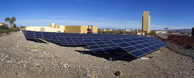 A panoramic view of a solar photovoltaic field at Congregation Ner Tamid in Henderson Sunday, Jan. 12, 2014. The $1.6 million project, a partnership of Congregation Ner Tamid, NV Energy and Hamilton Solar, will produce about 75 percent of the temple's power usage on average, said Matthew Weinberger, Hamilton Solar's director of business development.
