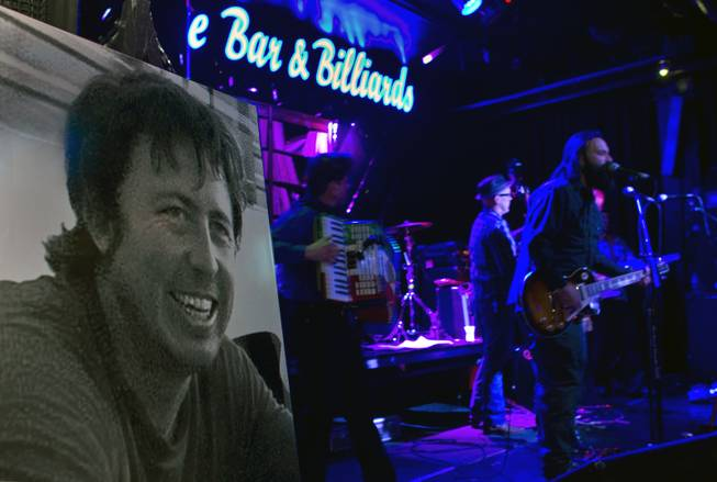 A photo of Gary Wright, on display Monday night at Backstage Bar & Billiards.