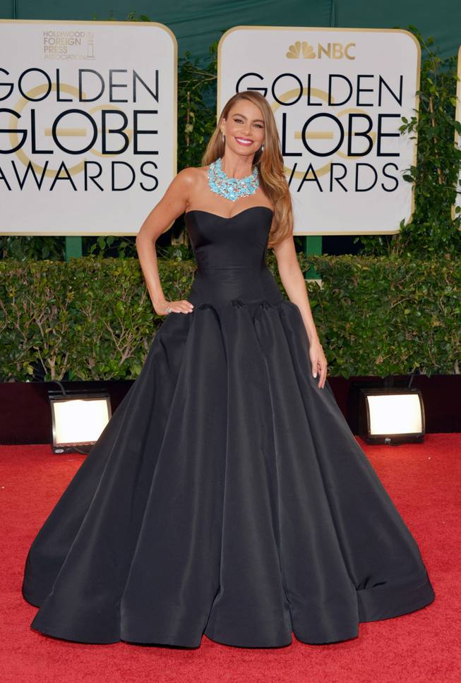 Sofia Vergara arrives at the 71st annual Golden Globe Awards at the Beverly Hilton Hotel on Sunday, Jan. 12, 2014, in Beverly Hills, Calif.