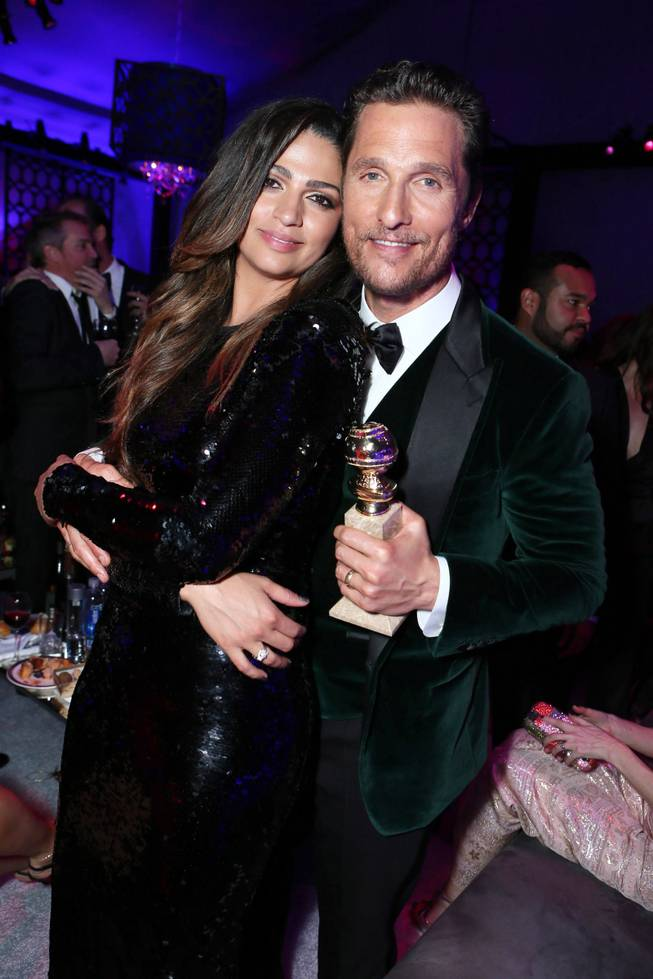 "Camila Alves and Matthew McConaughey with the award for best actor in a motion picture - drama for ""Dallas Buyers Club""  at the 71st Annual Golden Globe Awards  NBC/Universal/Focus Features/E! Entertainment/Chrysler After Party on Sunday, Jan. 12, 2014 in Los Angeles."