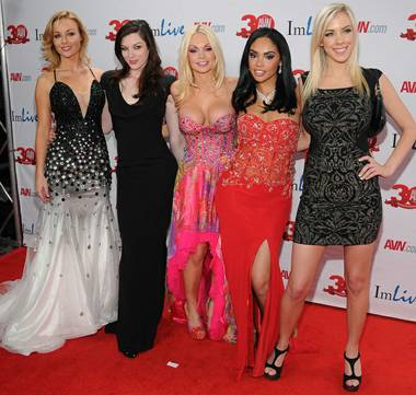 Kayden Kross, Stoya, Jesse Jane, Selena Rose and Bibi Jones arrive at the 2013 AVN Awards red carpet at The Joint in the Hard Rock Hotel on Saturday, Jan. 19, 2013.