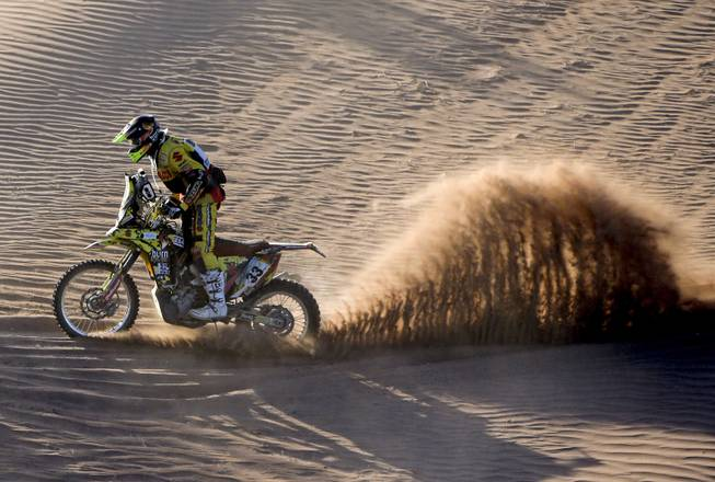 Yamaha rider Bruno da Costa of France races during the fifth stage of the Dakar Rally between the cities of Chilecito and San MIguel de Tucuman, Argentina, Thursday, Jan. 9, 2014.
