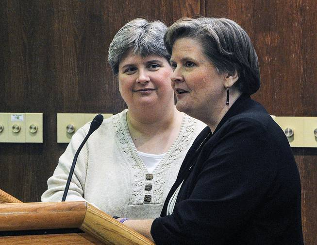 Sharon Baldwin, left, and Mary Bishop speak at East Central University in Ada, Okla., as part of the ECU Gay-Straight Alliance's National Coming Out Day event, Oct. 10, 2013.