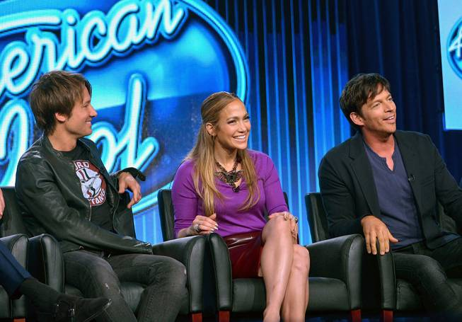 "Judges Keith Urban, Jennifer Lopez and Harry Connick Jr. are seen during the panel of ""American Idol"" at the Fox Winter 2014 TCA on Monday, Jan. 13, 2014, at the Langham Hotel in Pasadena, Calif."